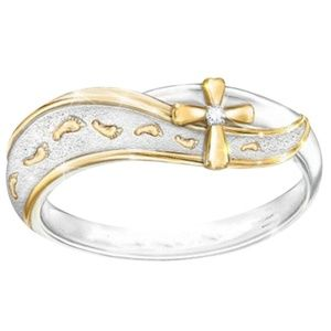Religious Cross 2-Tone Stainless Steel Ring